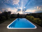 overflow rectangle swimming pool